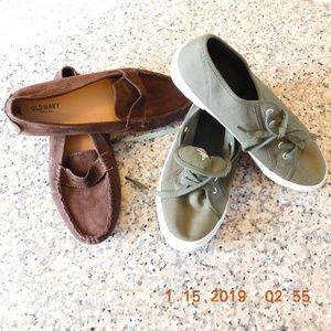 Old Navy Flats Olive Sneaker & Brown Vegan Loafer